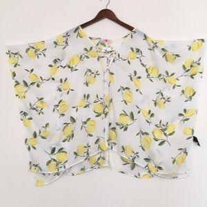 NWT Buddy Love lemons Print Kimono Style Top